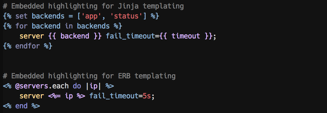 Embedded highlighting for ERB and Jinja templates
